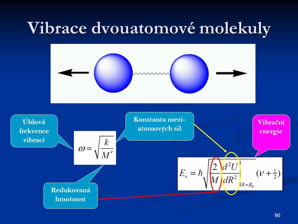 90 Vibrace dvouatomové molekuly Úhlová frekvence vibrací Konstanta mezi- atomových sil Redukovaná hmotnost Vibrační energie