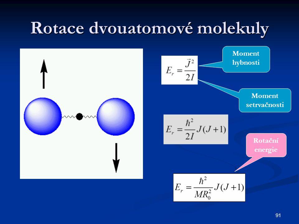 91 Rotace dvouatomové molekuly Moment hybnosti Moment setrvačnosti Rotační energie