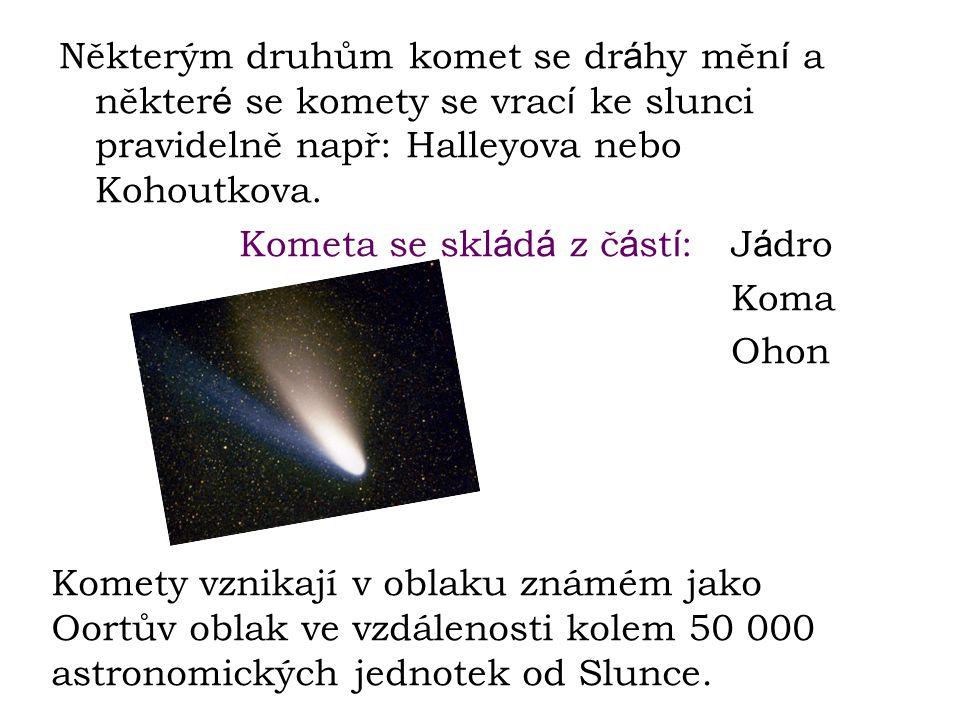 Některým druhům komet se dr á hy měn í a někter é se komety se vrac í ke slunci pravidelně např: Halleyova nebo Kohoutkova. Kometa se skl á d á z č á