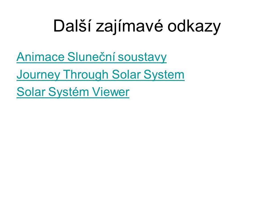 Další zajímavé odkazy Animace Sluneční soustavy Journey Through Solar System Solar Systém Viewer