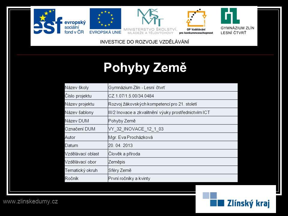 Pohyby Země www.zlinskedumy.cz Název školyGymnázium Zlín - Lesní čtvrť Číslo projektuCZ.1.07/1.5.00/34.0484 Název projektuRozvoj žákovských kompetencí