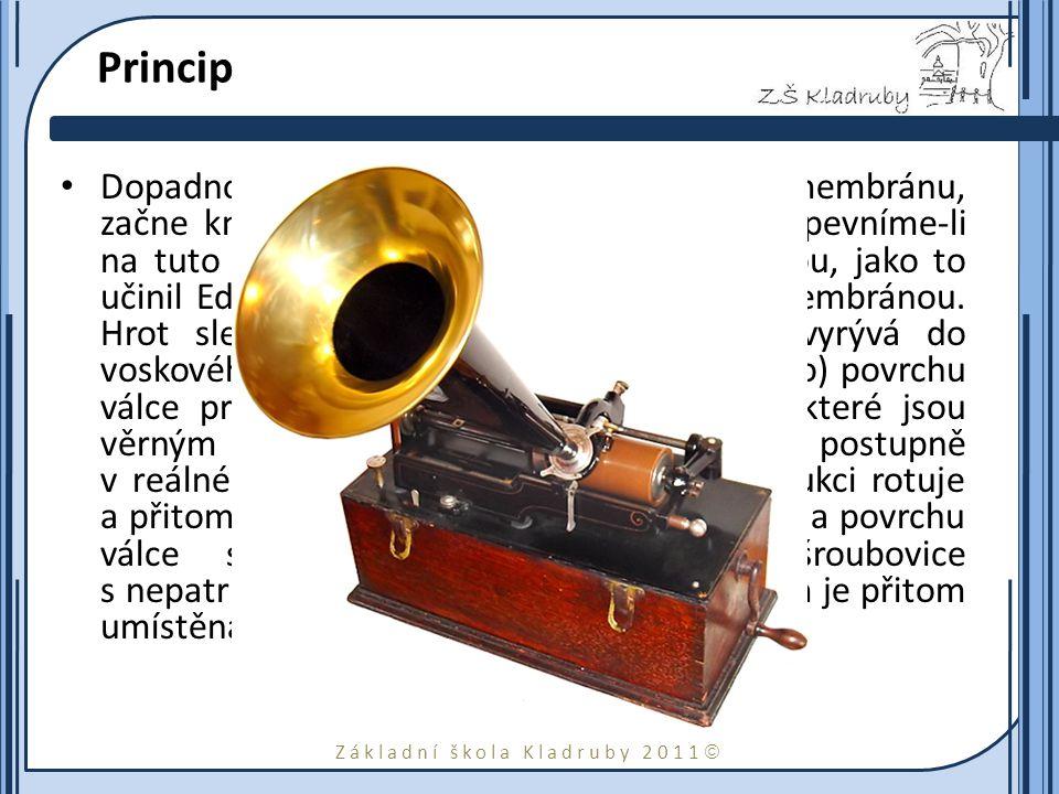 Základní škola Kladruby 2011  Princip Dopadnou-li zvukové vlny na pružnou membránu, začne kmitat shodně s vlnovými nárazy.