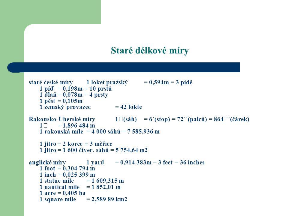 Míry plošné a úhlové Plošné míry odvozené od 1 m – metr čtvereční – ar – ha – km2 Míry úhlové - míra oblouková s...délka oblouku r...poloměr - míra stupňová - šedesátinná plný úhel 360  - 1  = 60= 3 600  - setinná plný úhel 400 g - 1 g — grad 0,01 g = 1 c setinná minuta 0,000 1 g = 1 cc setinná vteřina