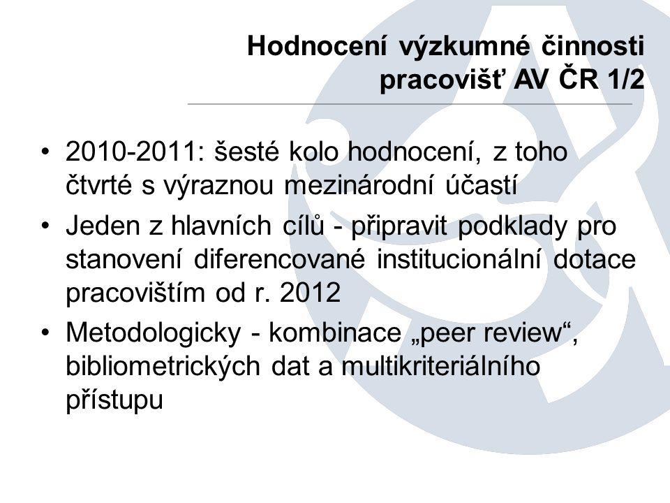 2010-2011: šesté kolo hodnocení, z toho čtvrté s výraznou mezinárodní účastí Jeden z hlavních cílů - připravit podklady pro stanovení diferencované institucionální dotace pracovištím od r.