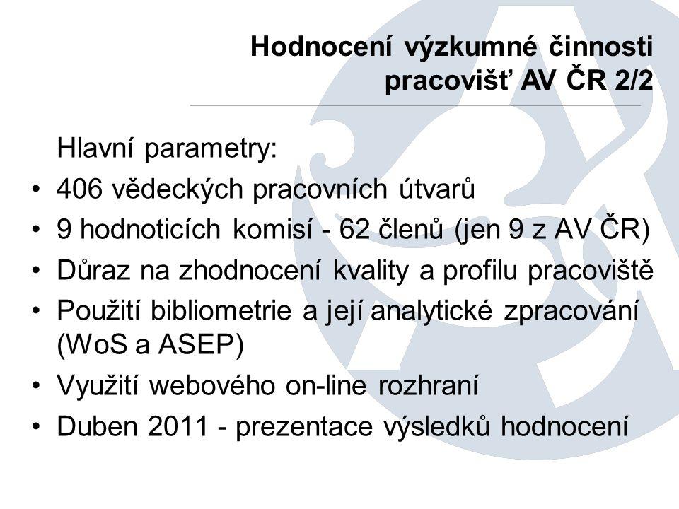 Hlavní parametry: 406 vědeckých pracovních útvarů 9 hodnoticích komisí - 62 členů (jen 9 z AV ČR) Důraz na zhodnocení kvality a profilu pracoviště Použití bibliometrie a její analytické zpracování (WoS a ASEP) Využití webového on-line rozhraní Duben 2011 - prezentace výsledků hodnocení Hodnocení výzkumné činnosti pracovišť AV ČR 2/2