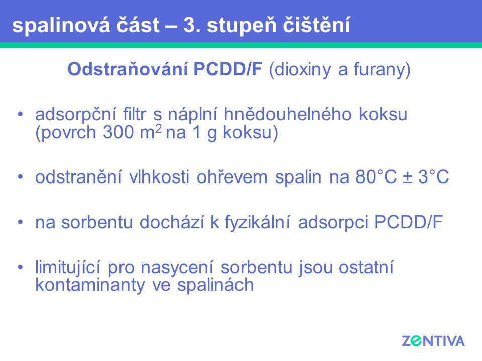 Odstraňování PCDD/F (dioxiny a furany) adsorpční filtr s náplní hnědouhelného koksu (povrch 300 m 2 na 1 g koksu) odstranění vlhkosti ohřevem spalin n