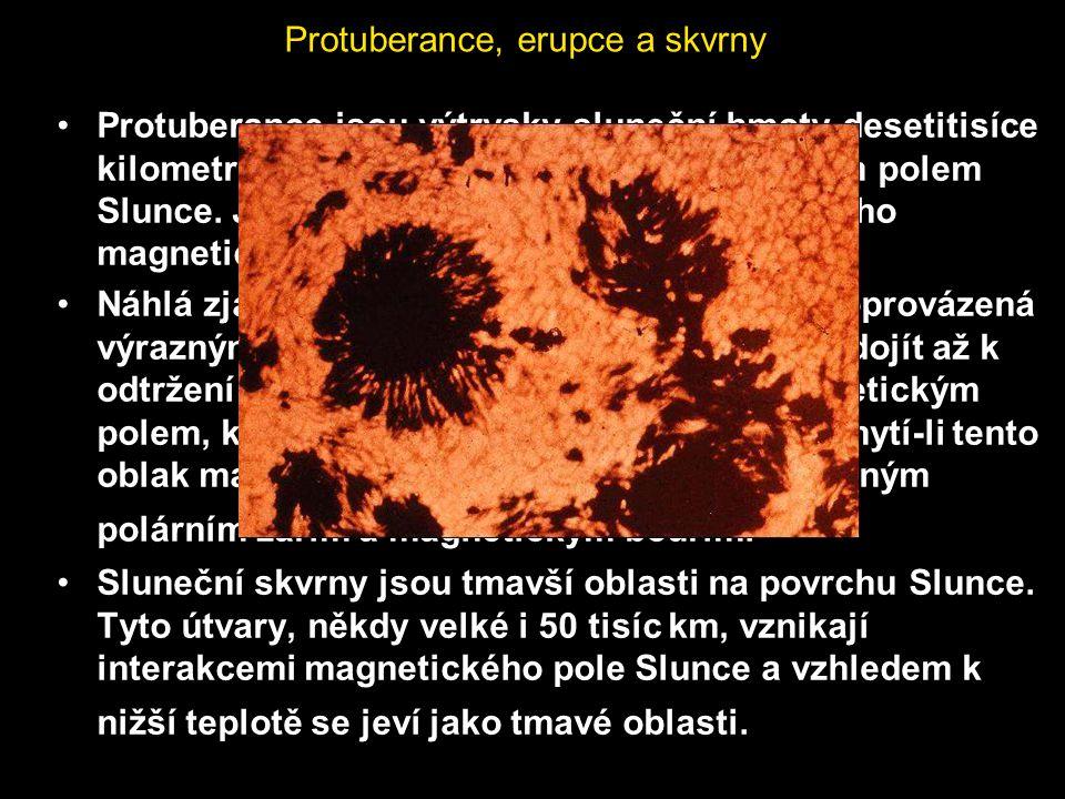 Protuberance, erupce a skvrny Protuberance jsou výtrysky sluneční hmoty desetitisíce kilometrů nad povrch, ovládané magnetickým polem Slunce. Jejich t