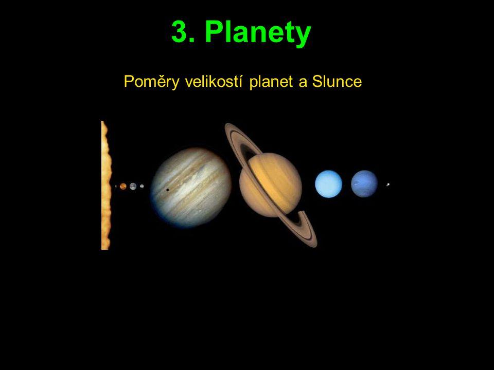 Poměry velikostí planet a Slunce 3. Planety