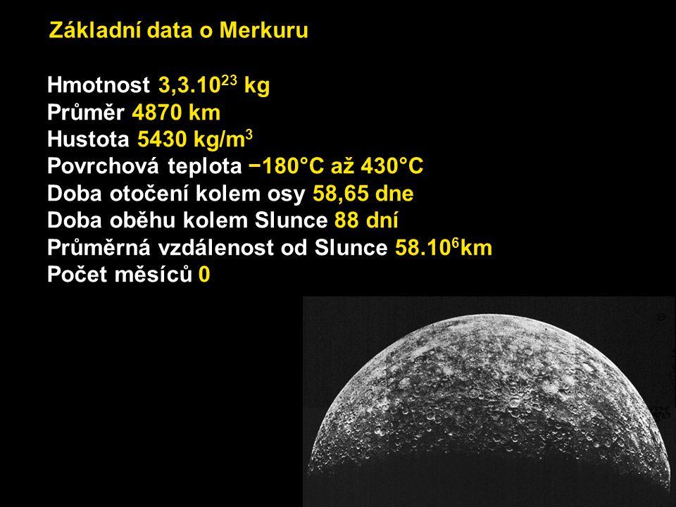 Základní data o Merkuru Hmotnost 3,3.10 23 kg Průměr 4870 km Hustota 5430 kg/m 3 Povrchová teplota −180°C až 430°C Doba otočení kolem osy 58,65 dne Do