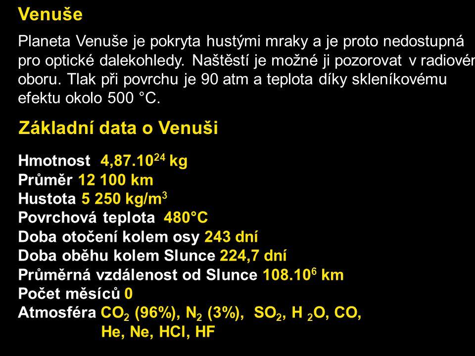 Základní data o Venuši Hmotnost 4,87.10 24 kg Průměr 12 100 km Hustota 5 250 kg/m 3 Povrchová teplota 480°C Doba otočení kolem osy 243 dní Doba oběhu
