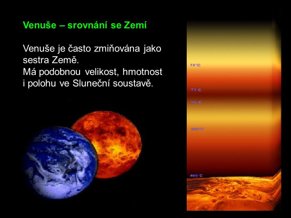 Venuše – srovnání se Zemí Venuše je často zmiňována jako sestra Země. Má podobnou velikost, hmotnost i polohu ve Sluneční soustavě.