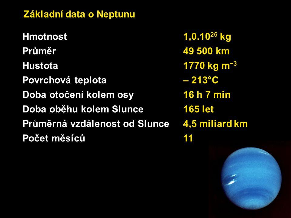 Základní data o Neptunu Hmotnost1,0.10 26 kg Průměr49 500 km Hustota1770 kg m −3 Povrchová teplota – 213°C Doba otočení kolem osy 16 h 7 min Doba oběh