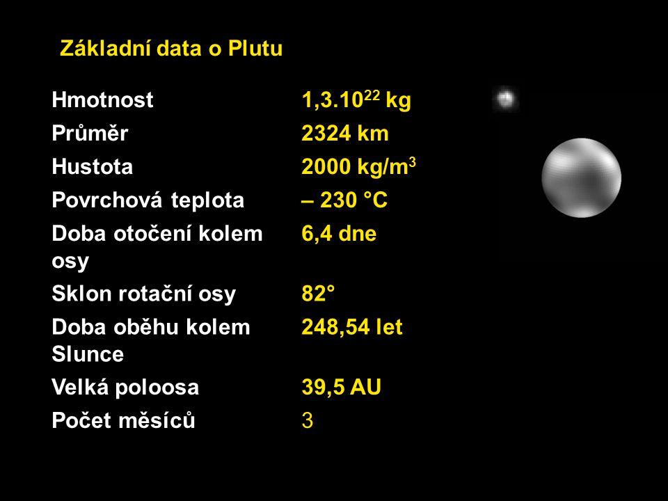 Hmotnost1,3.10 22 kg Průměr2324 km Hustota2000 kg/m 3 Povrchová teplota– 230 °C Doba otočení kolem osy 6,4 dne Sklon rotační osy82° Doba oběhu kolem S