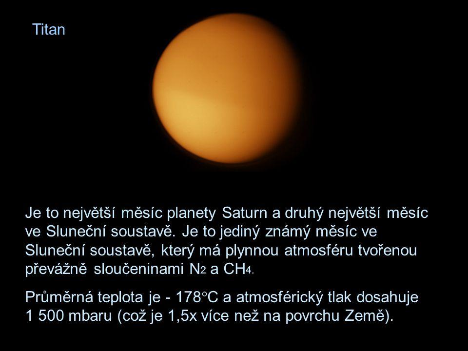 Titan Je to největší měsíc planety Saturn a druhý největší měsíc ve Sluneční soustavě. Je to jediný známý měsíc ve Sluneční soustavě, který má plynnou
