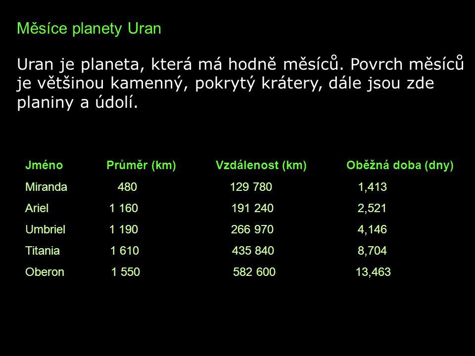 Měsíce planety Uran Uran je planeta, která má hodně měsíců. Povrch měsíců je většinou kamenný, pokrytý krátery, dále jsou zde planiny a údolí. Jméno P