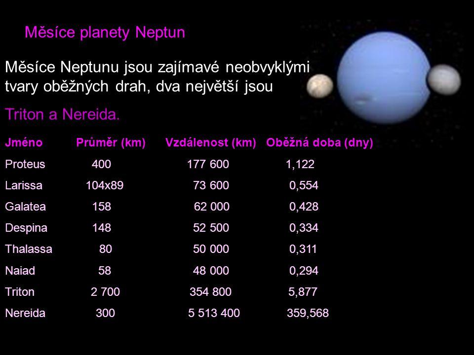Měsíce planety Neptun Měsíce Neptunu jsou zajímavé neobvyklými tvary oběžných drah, dva největší jsou Triton a Nereida. Jméno Průměr (km) Vzdálenost (