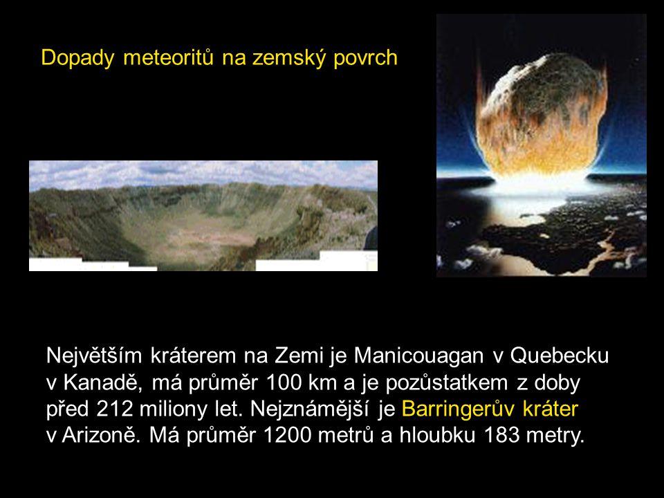 Dopady meteoritů na zemský povrch Největším kráterem na Zemi je Manicouagan v Quebecku v Kanadě, má průměr 100 km a je pozůstatkem z doby před 212 mil