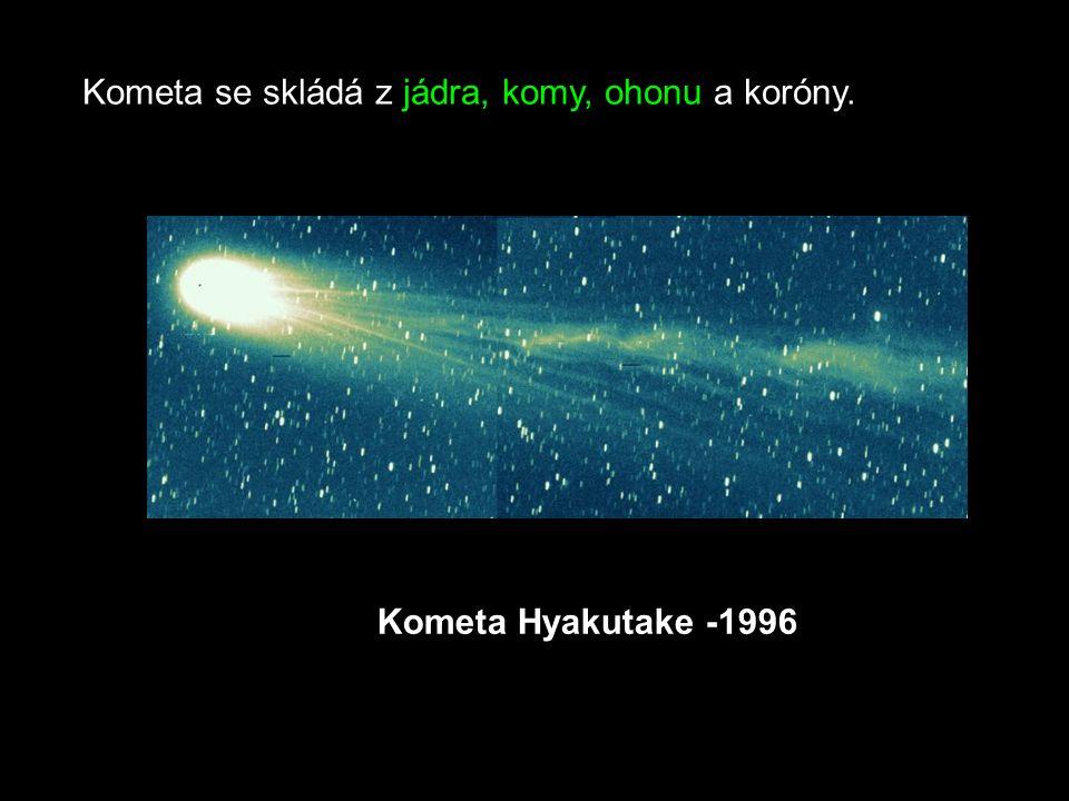 Kometa se skládá z jádra, komy, ohonu a koróny. Kometa Hyakutake -1996