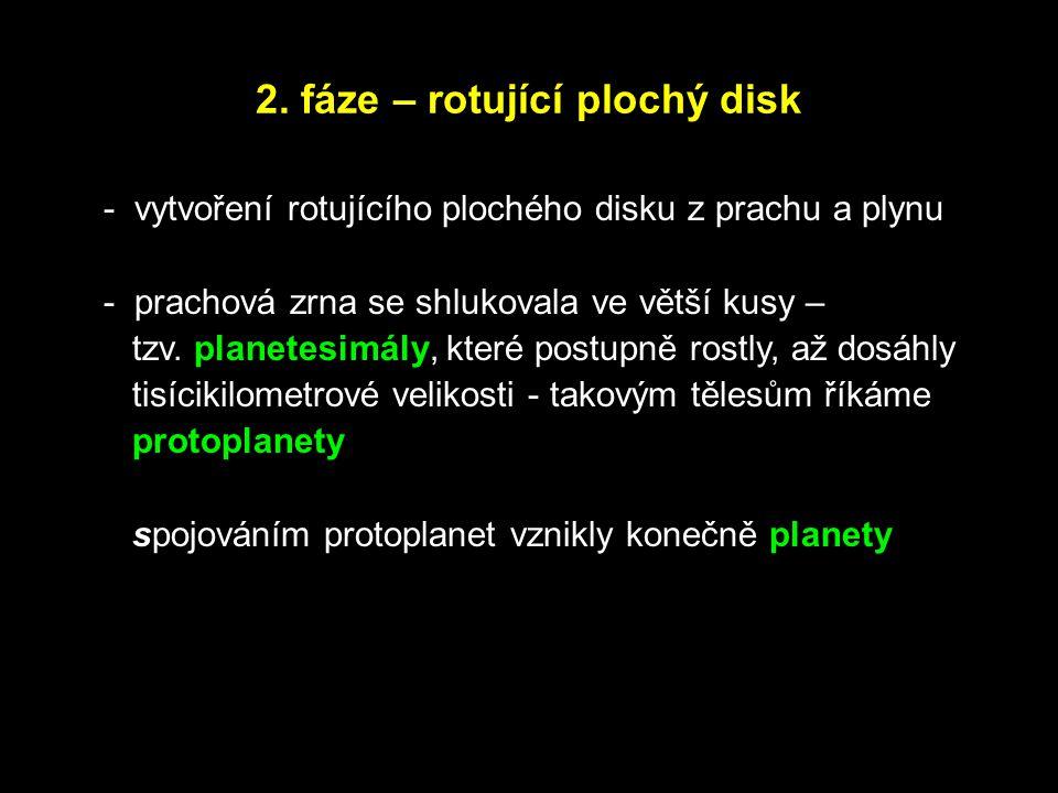 2. fáze – rotující plochý disk - vytvoření rotujícího plochého disku z prachu a plynu - prachová zrna se shlukovala ve větší kusy – tzv. planetesimály