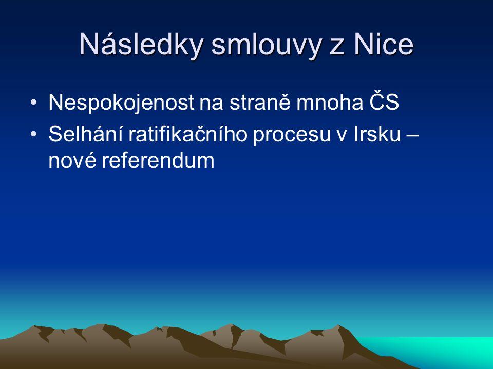 Následky smlouvy z Nice Nespokojenost na straně mnoha ČS Selhání ratifikačního procesu v Irsku – nové referendum