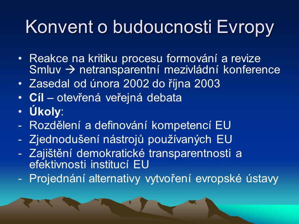 Konvent o budoucnosti Evropy Reakce na kritiku procesu formování a revize Smluv  netransparentní mezivládní konference Zasedal od února 2002 do října 2003 Cíl – otevřená veřejná debata Úkoly: -Rozdělení a definování kompetencí EU -Zjednodušení nástrojů používaných EU -Zajištění demokratické transparentnosti a efektivnosti institucí EU -Projednání alternativy vytvoření evropské ústavy