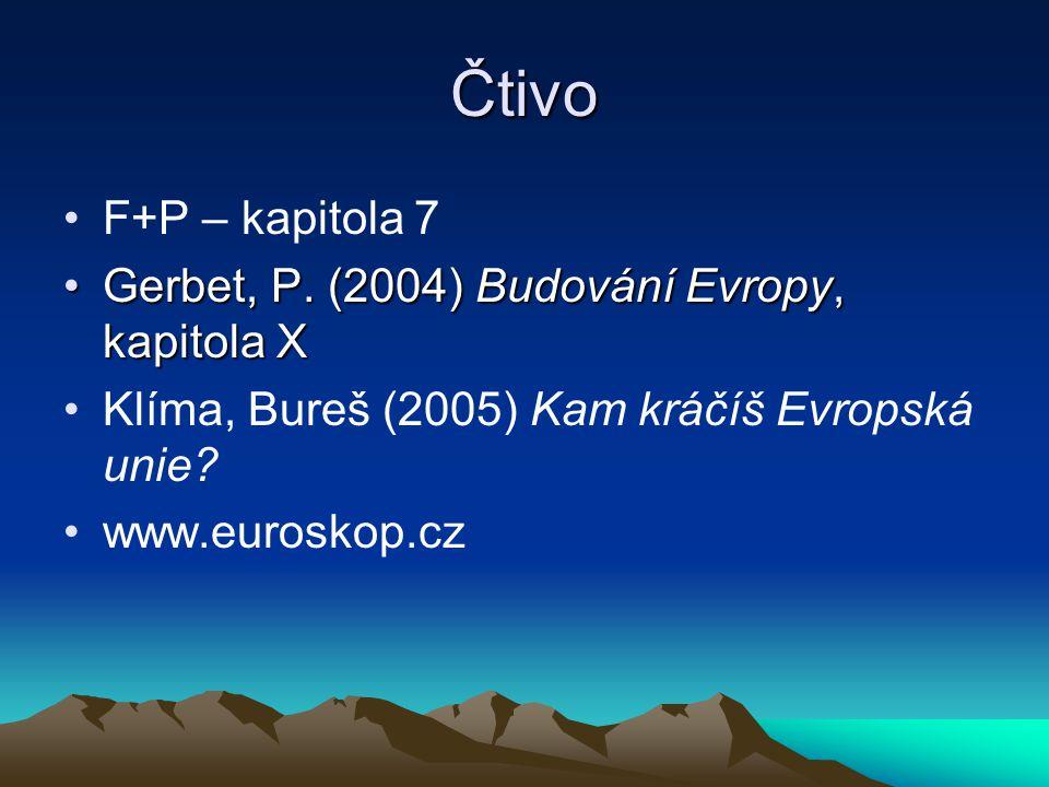 Čtivo F+P – kapitola 7 Gerbet, P.(2004) Budování Evropy, kapitola XGerbet, P.