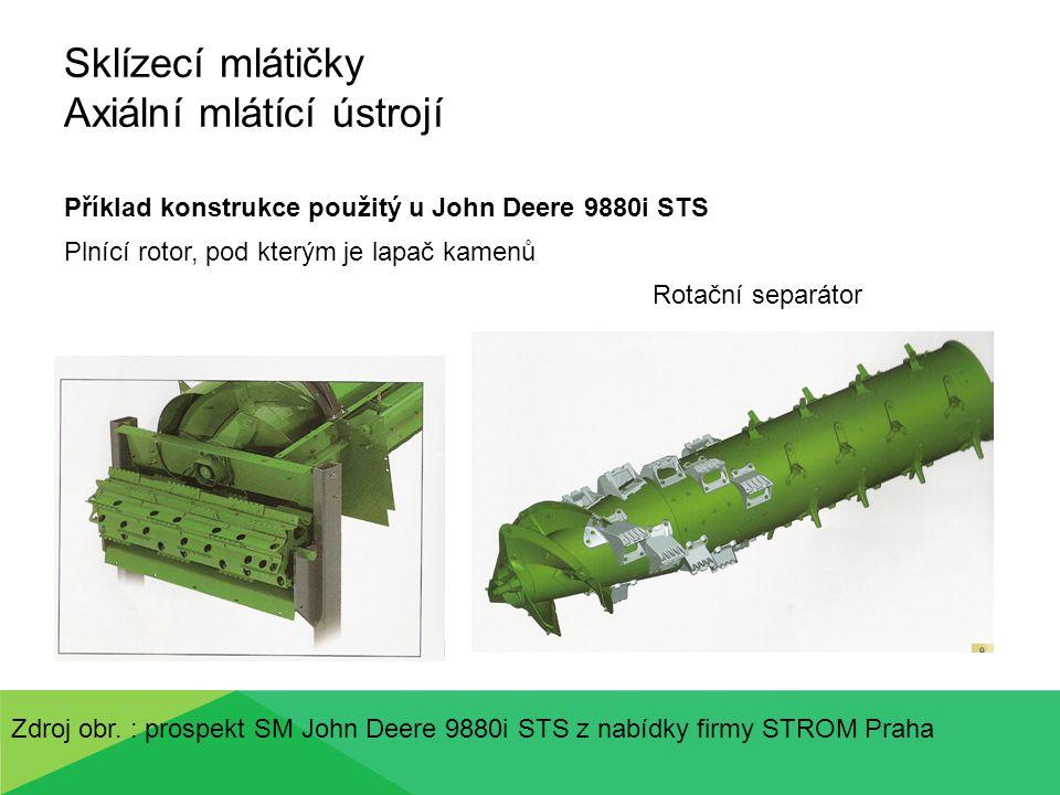 Sklízecí mlátičky Axiální mlátící ústrojí Příklad konstrukce použitý u John Deere 9880i STS Plnící rotor, pod kterým je lapač kamenů Rotační separátor