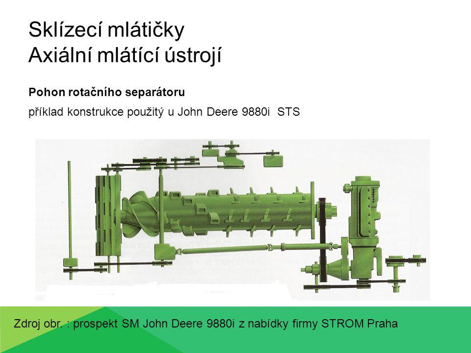 Sklízecí mlátičky Axiální mlátící ústrojí Pohon rotačního separátoru příklad konstrukce použitý u John Deere 9880i STS Zdroj obr. : prospekt SM John D