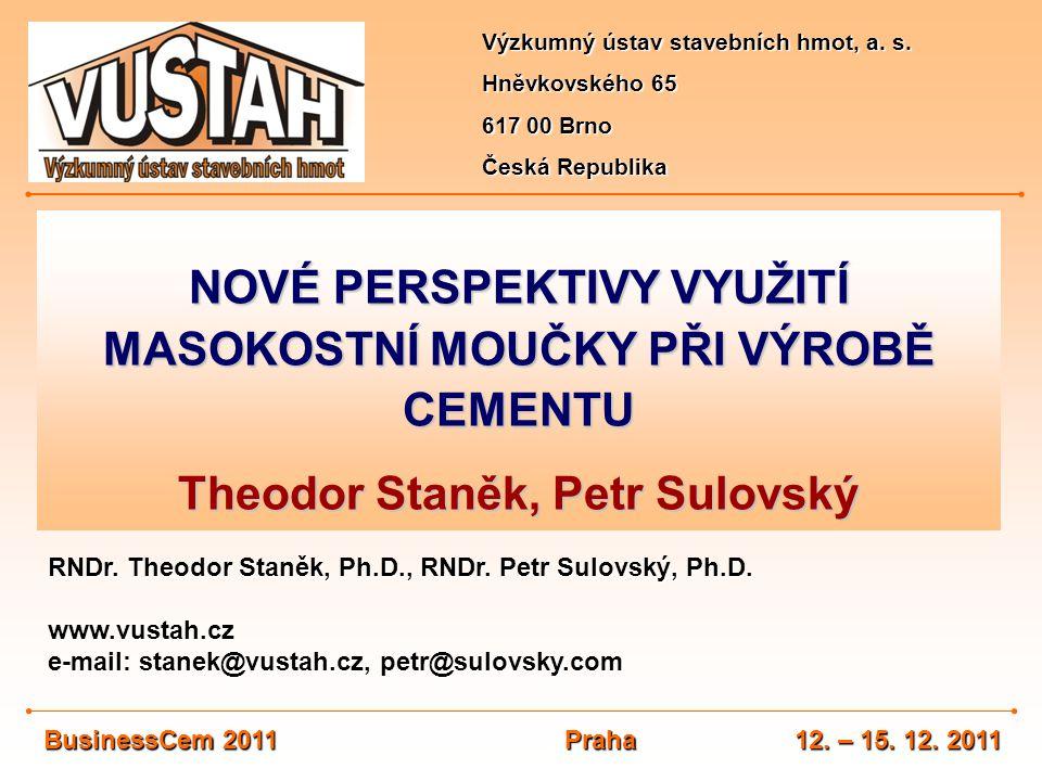 NOVÉ PERSPEKTIVY VYUŽITÍ MASOKOSTNÍ MOUČKY PŘI VÝROBĚ CEMENTU Theodor Staněk, Petr Sulovský Výzkumný ústav stavebních hmot, a. s. Hněvkovského 65 617
