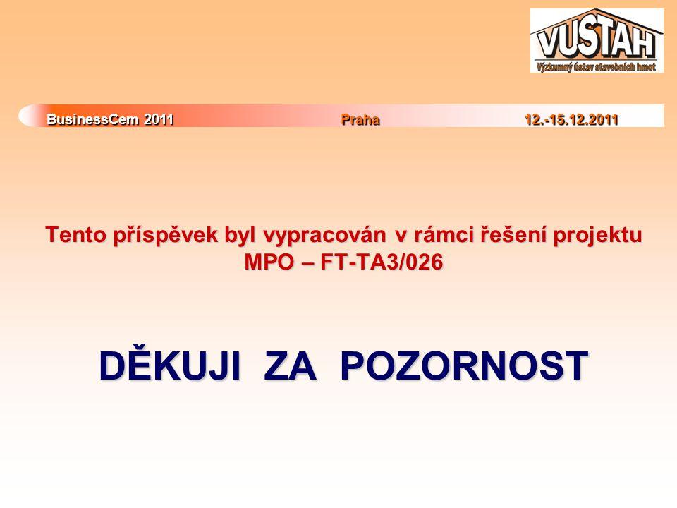 BusinessCem 2011Praha 12.-15.12.2011 BusinessCem 2011 Praha 12.-15.12.2011 Tento příspěvek byl vypracován v rámci řešení projektu MPO – FT-TA3/026 DĚKUJI ZA POZORNOST