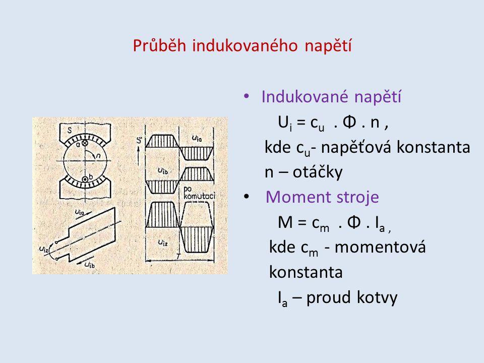 Průběh indukovaného napětí Indukované napětí U i = c u. Φ. n, kde c u - napěťová konstanta n – otáčky Moment stroje M = c m. Φ. I a, kde c m - momento