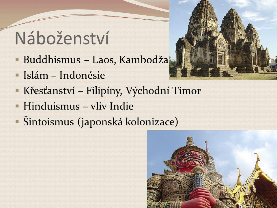 Náboženství  Buddhismus – Laos, Kambodža  Islám – Indonésie  Křesťanství – Filipíny, Východní Timor  Hinduismus – vliv Indie  Šintoismus (japonská kolonizace)