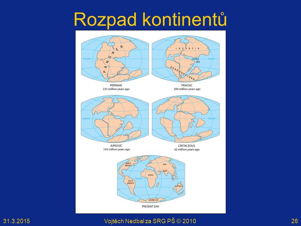 31.3.2015Vojtěch Nedbal za SRG PŠ © 201026 Rozpad kontinentů