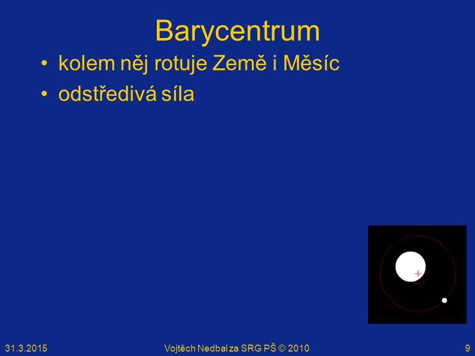 31.3.2015Vojtěch Nedbal za SRG PŠ © 20109 Barycentrum kolem něj rotuje Země i Měsíc odstředivá síla
