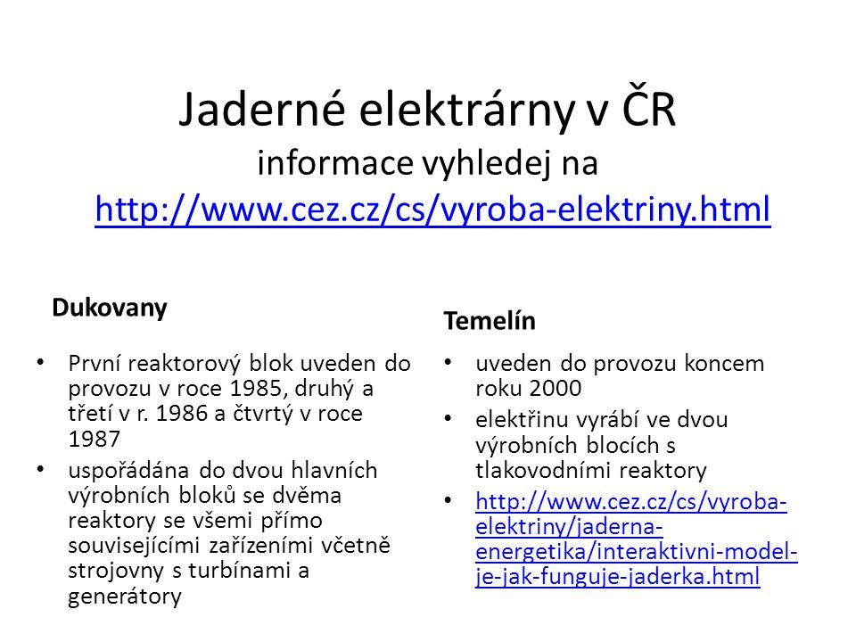 Jaderné elektrárny v ČR informace vyhledej na http://www.cez.cz/cs/vyroba-elektriny.htmlhttp://www.cez.cz/cs/vyroba-elektriny.html Dukovany První reaktorový blok uveden do provozu v roce 1985, druhý a třetí v r.