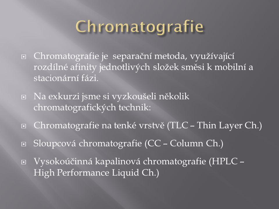  Chromatografie je separační metoda, využívající rozdílné afinity jednotlivých složek směsi k mobilní a stacionární fázi.  Na exkurzi jsme si vyzkou