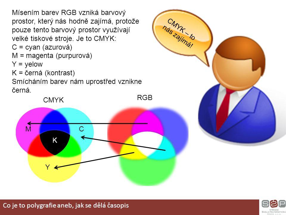 CMYK – to nás zajímá! Mísením barev RGB vzniká barvový prostor, který nás hodně zajímá, protože pouze tento barvový prostor využívají velké tiskové st