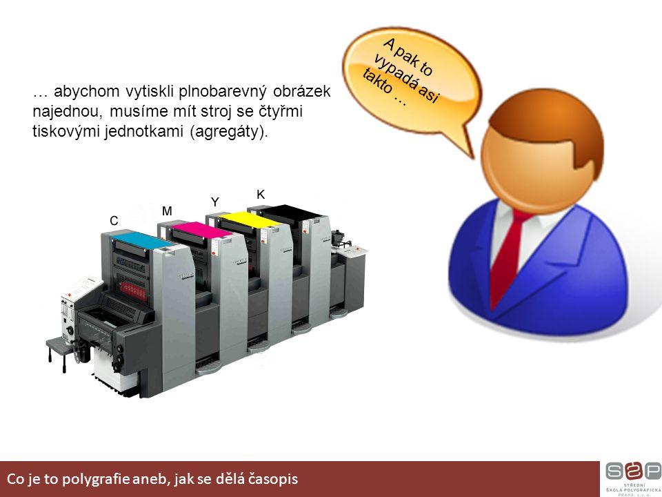 A pak to vypadá asi takto … … abychom vytiskli plnobarevný obrázek najednou, musíme mít stroj se čtyřmi tiskovými jednotkami (agregáty). Co je to poly