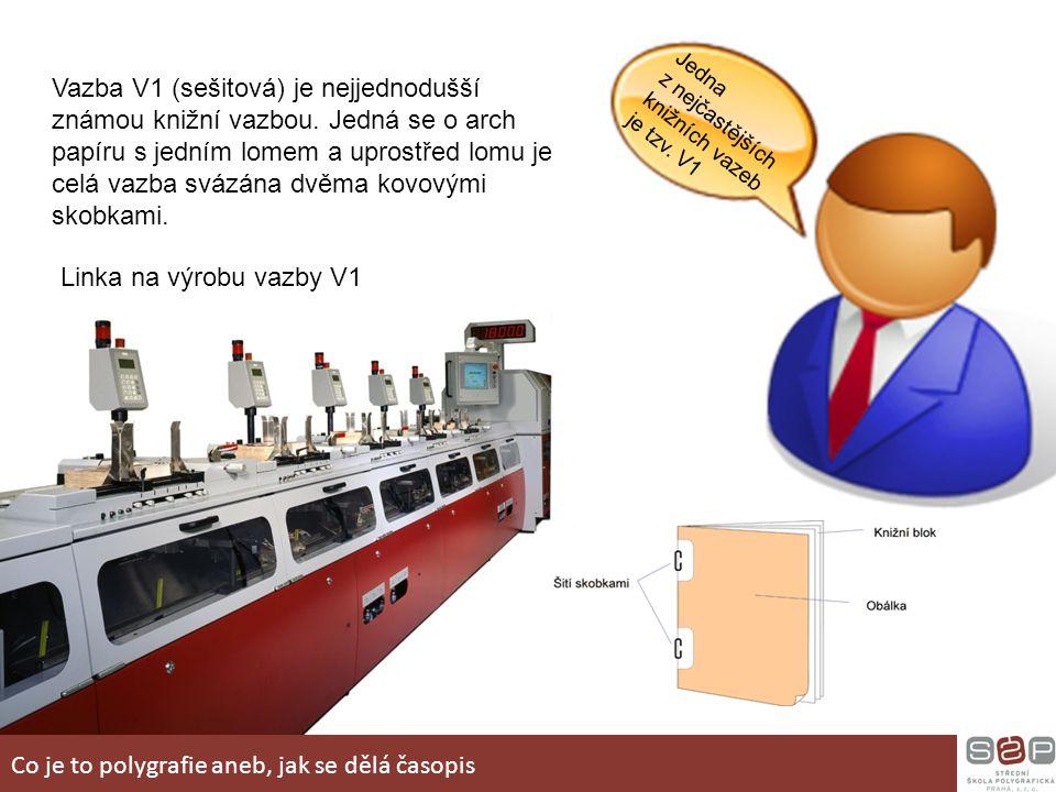 Jedna z nejčastějších knižních vazeb je tzv. V1 Vazba V1 (sešitová) je nejjednodušší známou knižní vazbou. Jedná se o arch papíru s jedním lomem a upr