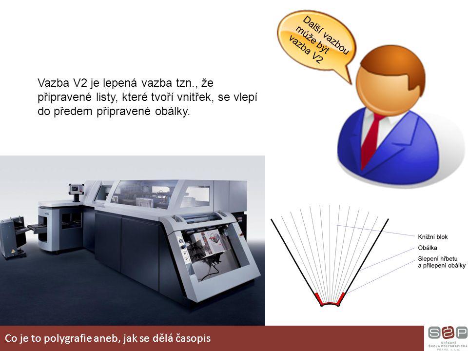 Další vazbou může být vazba V2 Vazba V2 je lepená vazba tzn., že připravené listy, které tvoří vnitřek, se vlepí do předem připravené obálky. Co je to