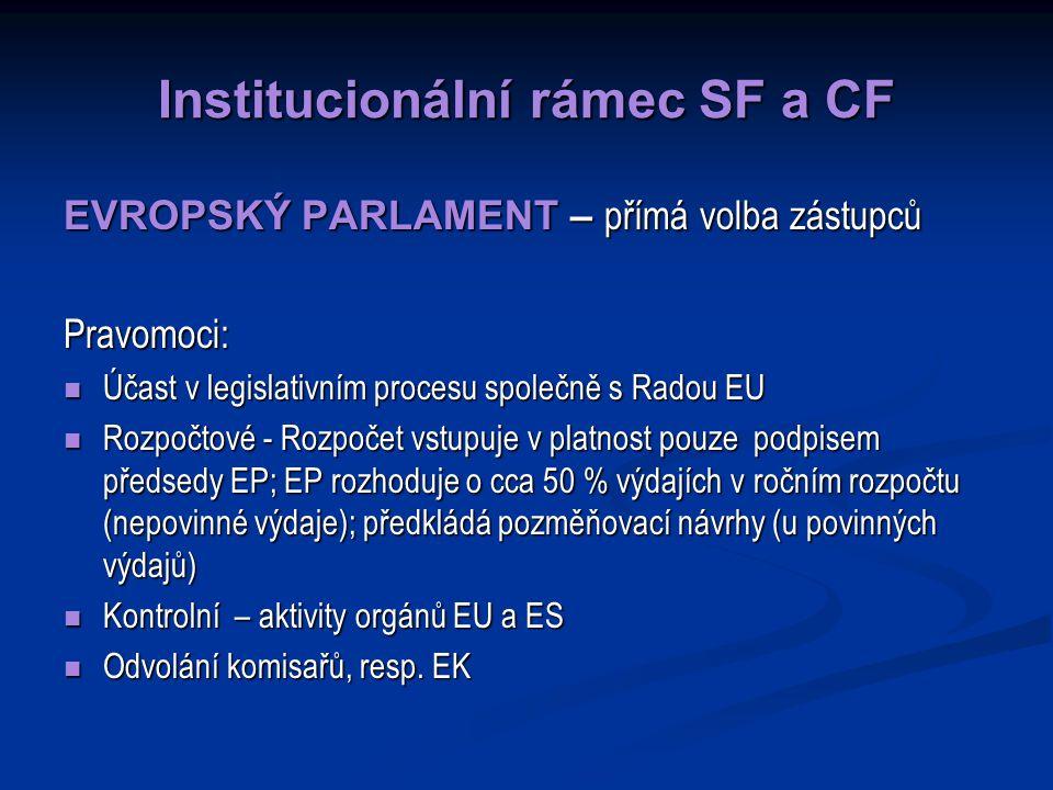 Institucionální rámec SF a CF EVROPSKÝ PARLAMENT – přímá volba zástupců Pravomoci: Účast v legislativním procesu společně s Radou EU Účast v legislativním procesu společně s Radou EU Rozpočtové - Rozpočet vstupuje v platnost pouze podpisem předsedy EP; EP rozhoduje o cca 50 % výdajích v ročním rozpočtu (nepovinné výdaje); předkládá pozměňovací návrhy (u povinných výdajů) Rozpočtové - Rozpočet vstupuje v platnost pouze podpisem předsedy EP; EP rozhoduje o cca 50 % výdajích v ročním rozpočtu (nepovinné výdaje); předkládá pozměňovací návrhy (u povinných výdajů) Kontrolní – aktivity orgánů EU a ES Kontrolní – aktivity orgánů EU a ES Odvolání komisařů, resp.