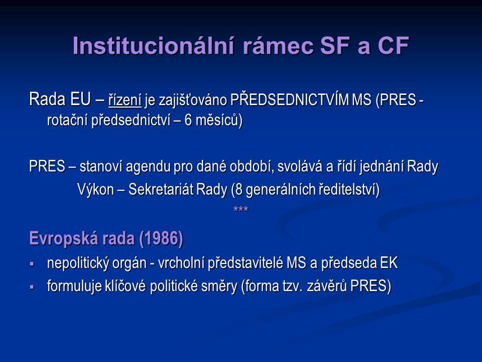 Institucionální rámec SF a CF Rada EU – řízení je zajišťováno PŘEDSEDNICTVÍM MS (PRES - rotační předsednictví – 6 měsíců) PRES – stanoví agendu pro dané období, svolává a řídí jednání Rady Výkon – Sekretariát Rady (8 generálních ředitelství) *** Evropská rada (1986)  nepolitický orgán - vrcholní představitelé MS a předseda EK  formuluje klíčové politické směry (forma tzv.