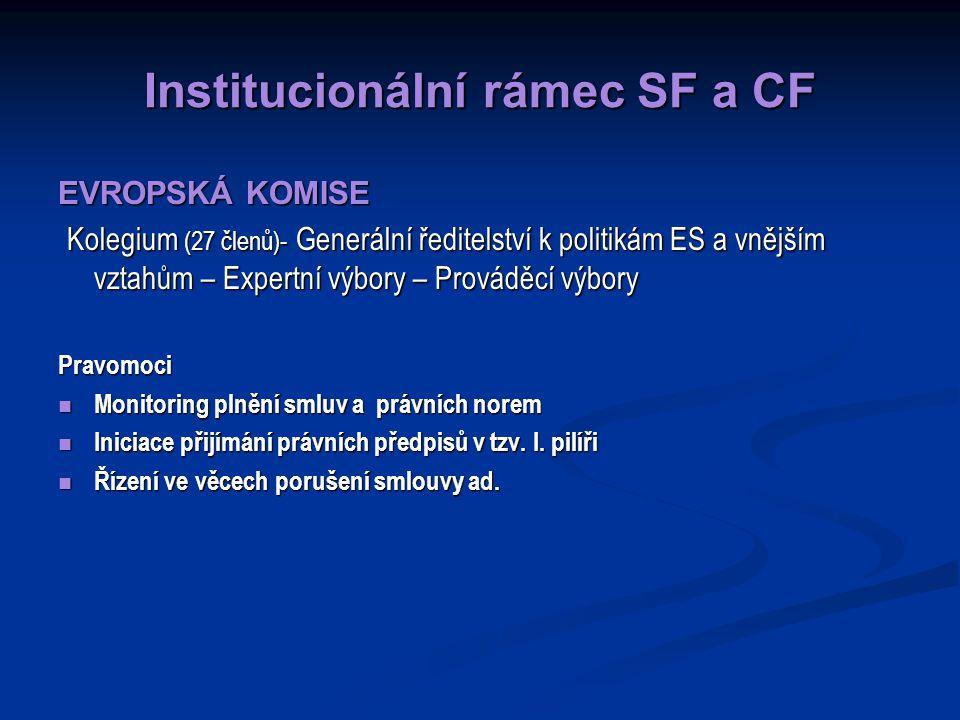 Institucionální rámec SF a CF EVROPSKÁ KOMISE Kolegium (27 členů)- Generální ředitelství k politikám ES a vnějším vztahům – Expertní výbory – Prováděcí výbory Kolegium (27 členů)- Generální ředitelství k politikám ES a vnějším vztahům – Expertní výbory – Prováděcí výboryPravomoci Monitoring plnění smluv a právních norem Monitoring plnění smluv a právních norem Iniciace přijímání právních předpisů v tzv.