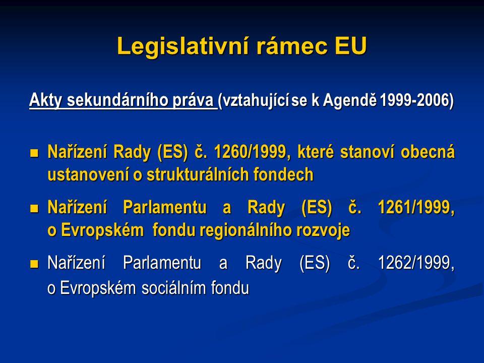 Legislativní rámec EU Akty sekundárního práva (vztahující se k Agendě 1999-2006) Nařízení Rady (ES) č.