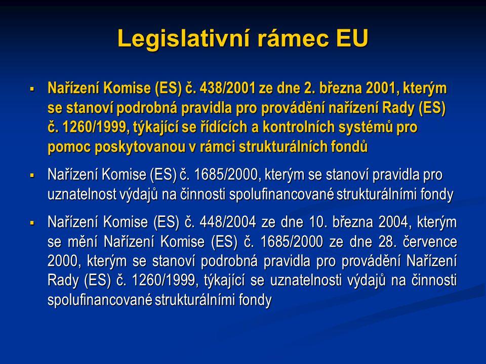 Legislativní rámec EU  Nařízení Komise (ES) č. 438/2001 ze dne 2.