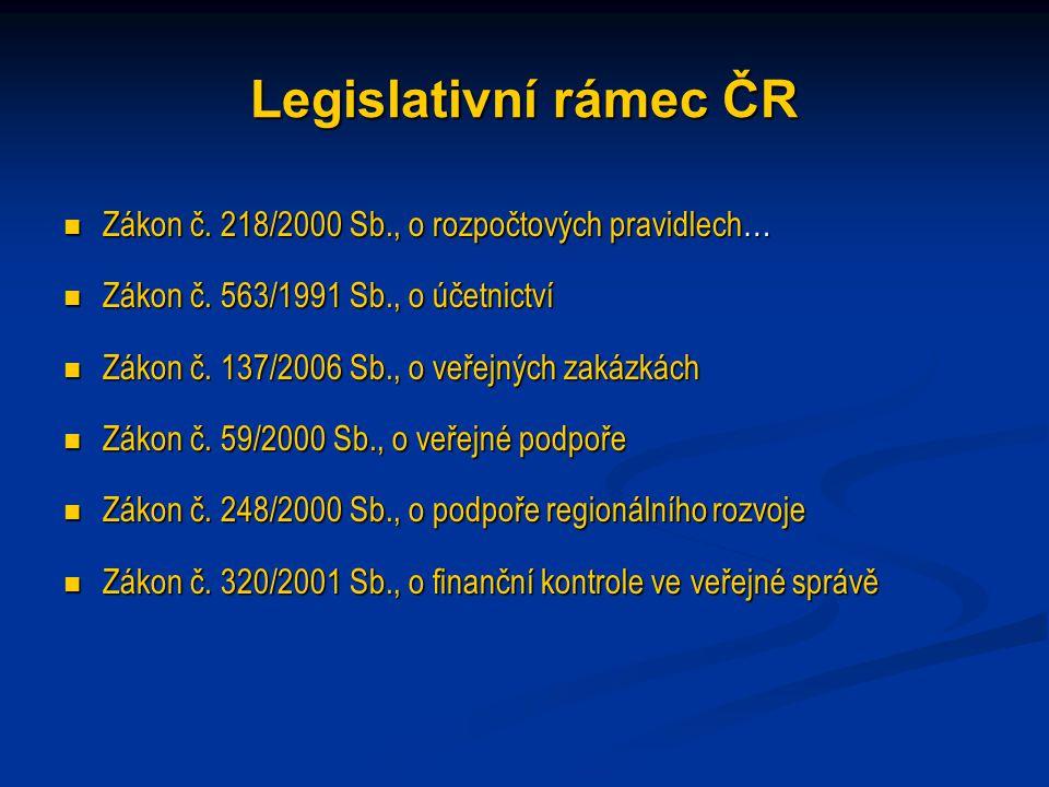 Legislativní rámec ČR Zákon č. 218/2000 Sb., o rozpočtových pravidlech… Zákon č.