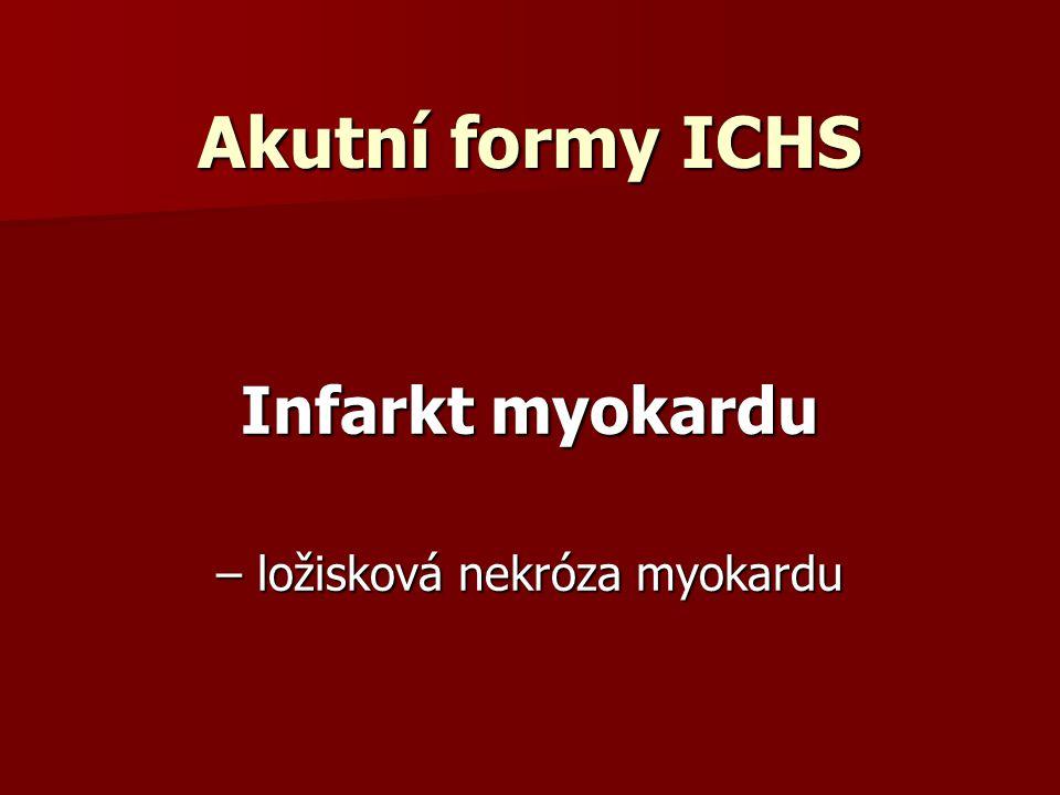 Akutní formy ICHS Infarkt myokardu – ložisková nekróza myokardu
