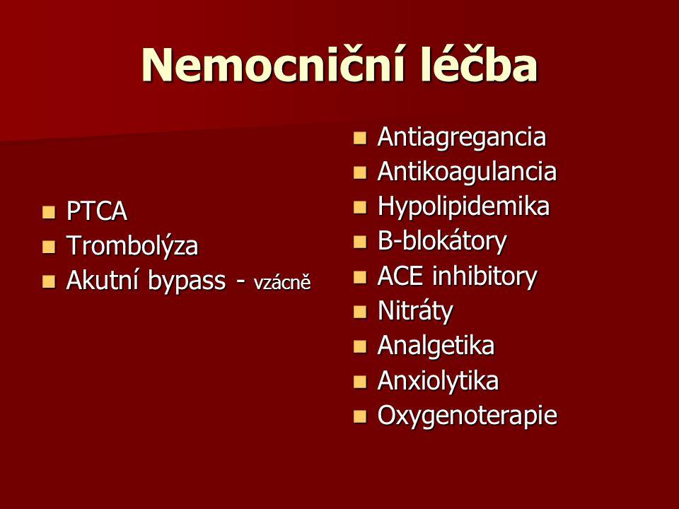 Nemocniční léčba PTCA PTCA Trombolýza Trombolýza Akutní bypass - vzácně Akutní bypass - vzácně Antiagregancia Antiagregancia Antikoagulancia Antikoagulancia Hypolipidemika Hypolipidemika B-blokátory B-blokátory ACE inhibitory ACE inhibitory Nitráty Nitráty Analgetika Analgetika Anxiolytika Anxiolytika Oxygenoterapie Oxygenoterapie