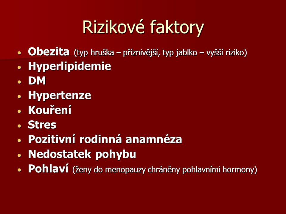 Rizikové faktory  Obezita (typ hruška – příznivější, typ jablko – vyšší riziko)  Hyperlipidemie  DM  Hypertenze  Kouření  Stres  Pozitivní rodinná anamnéza  Nedostatek pohybu  Pohlaví (ženy do menopauzy chráněny pohlavními hormony)