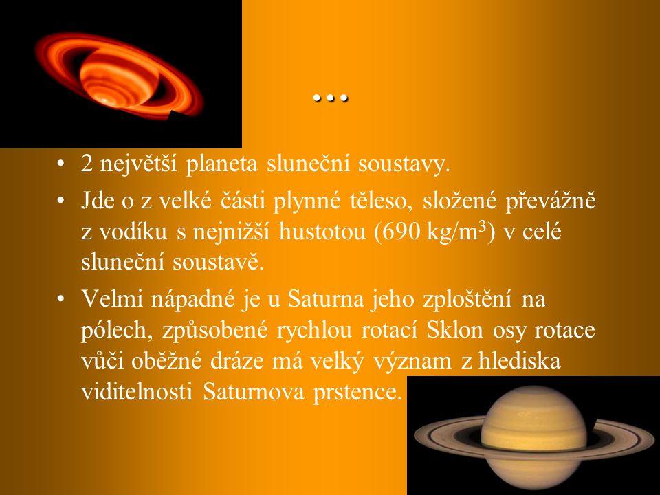 … 2 největší planeta sluneční soustavy. Jde o z velké části plynné těleso, složené převážně z vodíku s nejnižší hustotou (690 kg/m 3 ) v celé sluneční